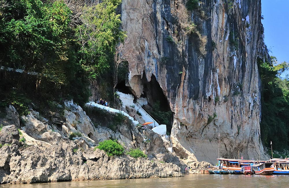 Luang Prabang City Tour & Holy Pak Ou Caves Mekong boat cruise, caves, buddhism and sightseeing